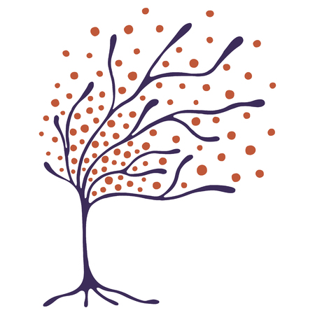 Vector Hand gezeichnete Illustration, dekorative Zier stilisierten Baum. Handzeichnung bunte künstlerische Silhouette. Grafik-Vektor-Illustration. Dekorative künstlerische Zierholz