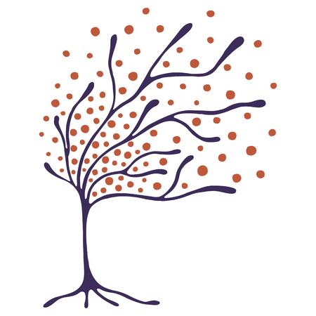 Vector ilustración dibujados a mano, estilizado árbol ornamental decorativa. Dibujo a mano silueta artística colorida. ejemplo gráfico del vector. madera ornamental artística decorativa