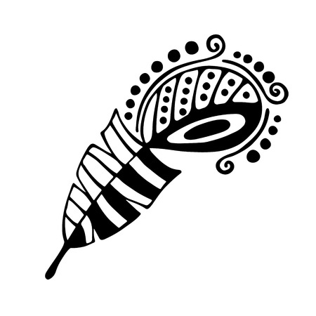 Vector hand drawn illustration, decorative ornamental stylized feather. Black and white graphic illustration isolated on the white background. Inc drawing silhouette.