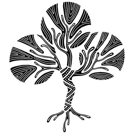 Gezeichnete Illustration des Vektors Hand, dekorativer dekorativer stilisierter Baum. Grafische Schwarzweiss-Illustration lokalisiert auf dem weißen Hintergrund. Inc Zeichnung Silhouette. Dekoratives künstlerisches dekoratives Holz