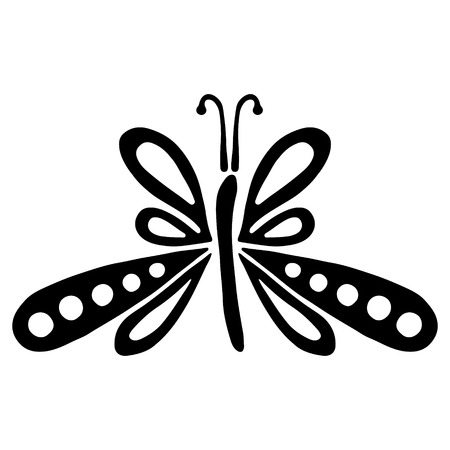 Vector black and white  illustration of insect. Butterfly isolated on the white background.