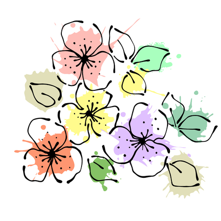 Vector hand drawn floral illustration. Decorative graphic vector drawn flowers.