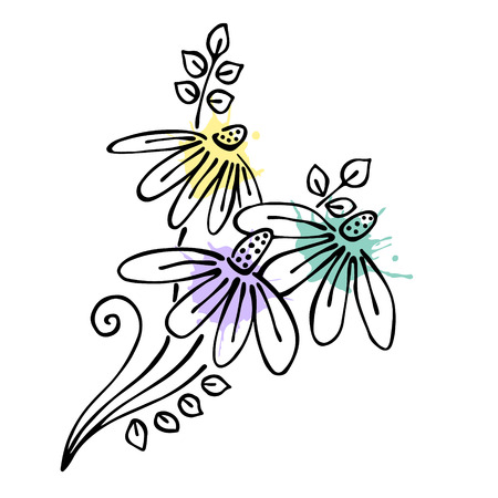 Vector floral illustration.Branch with flowers with leaves isolated on the white background. Hand drawn contour lines and strokes with watercolor splash, stain, spot. Graphic vector illustration Illustration