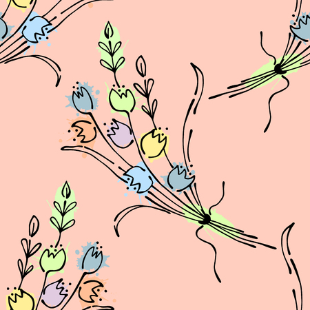 Seamless vector hand drawn seamless floral  pattern. Pink Background with flowers, leaves. Decorative graphic vector drawn illustration. Line drawing Illustration