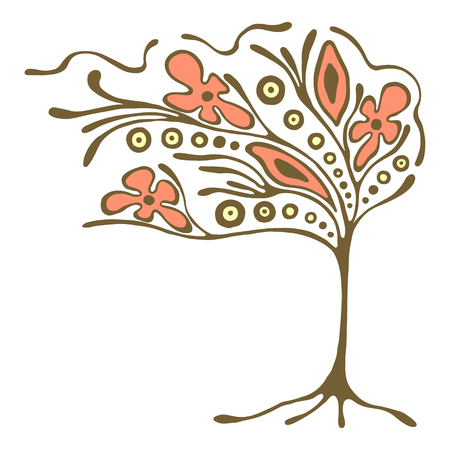 brushwood: Vector hand drawn illustration, decorative ornamental stylized tree. Abstract graphic illustration isolated on the white background. Artistic drawing silhouette. Decorative  ornamental wood