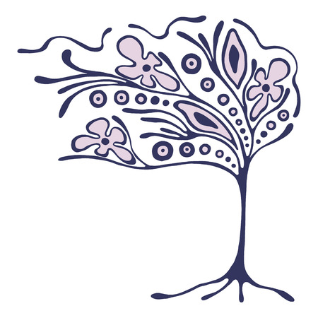 Vector hand drawn illustration, decorative ornamental stylized tree. Abstract graphic illustration isolated on the white background. Artistic drawing silhouette. Decorative  ornamental wood