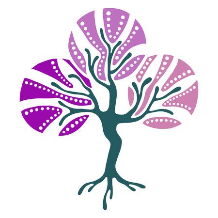 Vector ilustración dibujados a mano, estilizado árbol ornamental decorativa. Ejemplo gráfico abstracto aislado en el fondo blanco. silueta dibujo artístico. ornamentales de madera decorativa Ilustración de vector