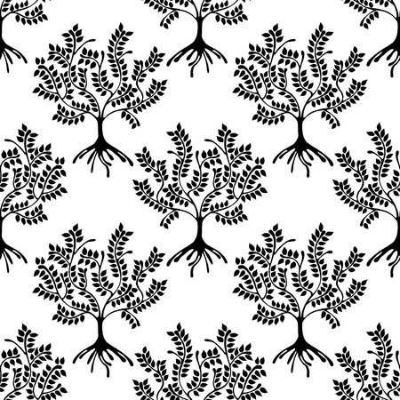 astract: Seamless pattern, vector hand drawn repeating illustration, decorative ornamental stylized trees. Black and white astract seamles graphic illustration. Artistic drawing silhouette. Illustration