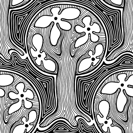 astract: Seamless pattern, vector hand drawn repeating illustration, decorative ornamental stylized endless trees. Black and white astract seamles graphic illustration. Artistic line drawing silhouette. Illustration