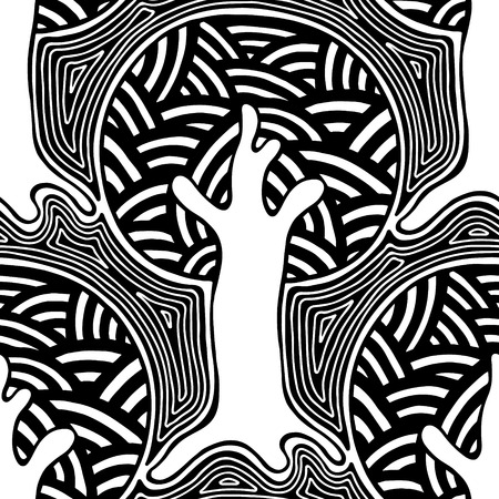 Seamless pattern, vector hand drawn repeating illustration, decorative ornamental stylized endless trees. Black and white astract seamles graphic illustration. Artistic line drawing silhouette. Illustration