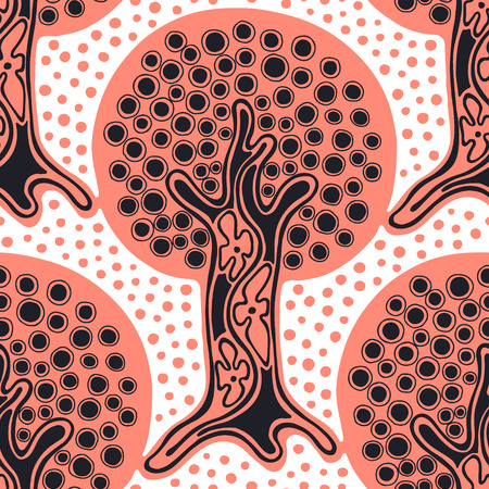 Seamless pattern, vector hand drawn repeating illustration, decorative ornamental stylized endless trees. Red and white abstract seamles graphic illustration. Artistic hand drawing background
