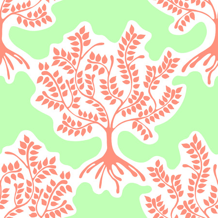 Seamless pattern, repeating illustration, decorative ornamental stylized endless trees. Green, pink abstract background, seamles graphic illustration Artistic line drawing silhouette