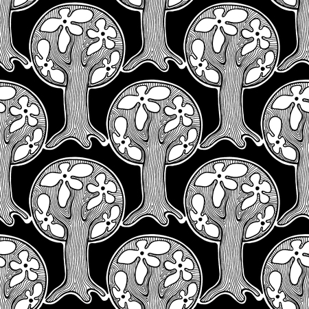 autumn colouring: Seamless pattern, vector hand drawn repeating illustration, decorative ornamental stylized endless trees Black  white background abstract seamles graphic illustration Artistic line drawing silhouette Illustration