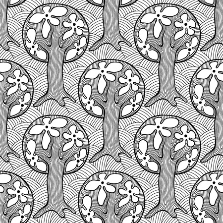tree line: Seamless pattern, vector hand drawn repeating illustration, decorative ornamental stylized endless trees Black  white background abstract seamles graphic illustration Artistic line drawing silhouette Illustration