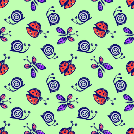 lady cow: Seamless vector hand drawn seamless pattern with insect. Colorful Background with ladybug, butterfly, snail. Green Decorative cute graphic drawn illustration. Template for background, wrapping, cover