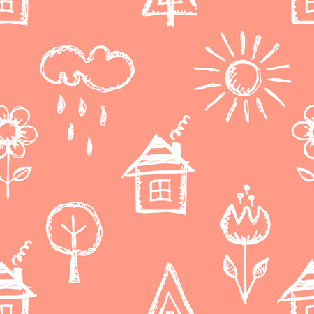 cute house: Seamless vector pattern with cute childish hand drawn  house, sun, cloud, rain, flowers, tree. Pink endless doodle background with line drawing sketch elements. Graphic repeat doodle illustration Illustration