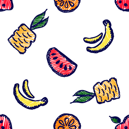 pine apple: Seamless vector pattern with cute childish hand drawn  fruits Colorful doodle background with line drawing sketch pineapple, banana, watermelon. orange, strawberry. Graphic repeat doodle illustration