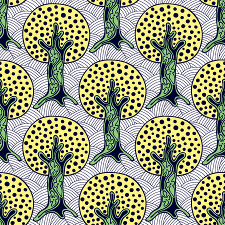 scrubs: Seamless pattern, vector hand drawn repeating illustration, decorative ornamental stylized endless trees. Colorful abstract background, seamles graphic illustration Artistic line drawing silhouette