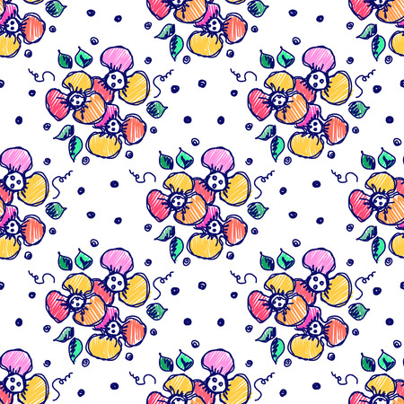 Seamless vector hand drawn seamless floral  pattern. Colorful Background with flowers, leaves, dots. Decorative cute graphic drawn illustration.