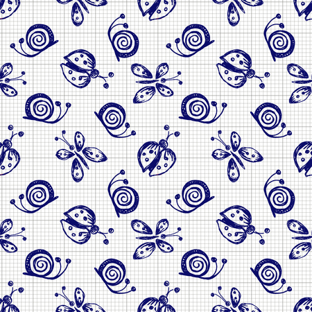 lady cow: Seamless vector hand drawn seamless pattern with insect. Blue and white background with ladybug, butterfly, snail on the checkered paper. Decorative cute graphic drawn illustration. Illustration