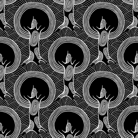 Seamless pattern, vector hand drawn repeating illustration, decorative ornamental stylized endless trees Black  white background abstract seamles graphic illustration Artistic line drawing silhouette Illustration