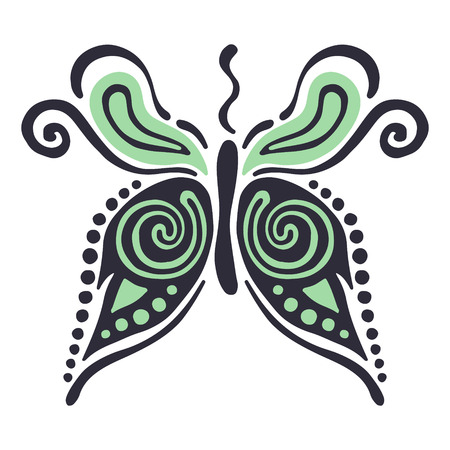 Vector illustration of insect. Butterfly isolated on the white background. Hand drawn decorative vector logo, icon, sign. Graphic vector illustration.