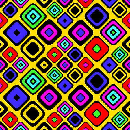 repeat pattern: Seamless vector geometrical pattern. Yellow Endless background with hand drawn ornamental squares. Graphic vector illustration with ethnic motifs. repeat Template for cover, fabric, wrapping. Illustration
