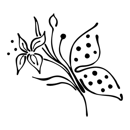 stroking: Vector floral illustration of butterfly with flowers, leaves, decorative elements isolated on the white background Hand drawn contour lines and strokes Doodle style, graphic vector illustration Illustration