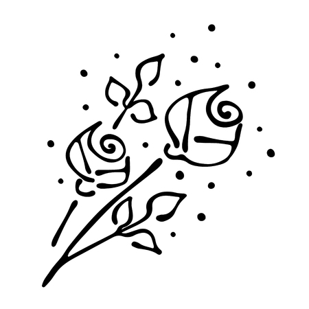 peon: Vector floral illustration. bouquet with flowers, leaves, decorative elements isolated on the white background. Hand drawn contour lines and strokes. Doodle style, graphic vector illustration of rose