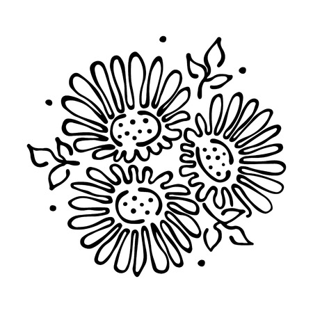 stroking: Vector floral illustration. bouquet with flowers, leaves, decorative elements isolated on the white background. Hand drawn contour lines and strokes. Doodle style, graphic vector illustration Illustration