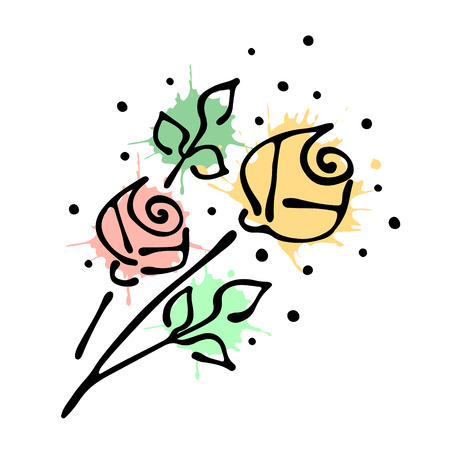 stroking: Vector floral illustration. bouquet with flowers, leaves, decorative elements isolated on the white background. Hand drawn contour lines and strokes. Doodle style, graphic vector illustration of rose