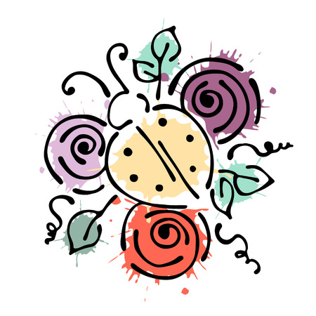 peon: Vector floral illustration with insect Ladybug with flowers, leaves, decorative elements isolated on the white background Hand drawn contour lines and strokes Doodle style, graphic vector illustration Illustration