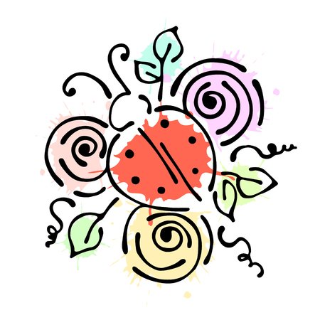 Vector floral illustration with insect Ladybug with flowers, leaves, decorative elements isolated on the white background Hand drawn contour lines and strokes Doodle style, graphic vector illustration Illustration