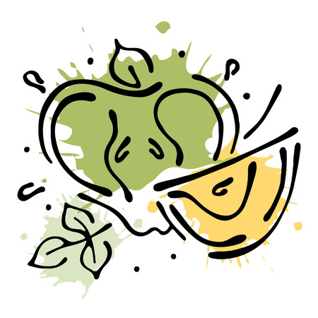 Vector fruits illustration. Apple with leaves, decorative elements isolated on the white background. Hand drawn contour lines and strokes. Doodle style, graphic vector illustration