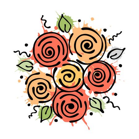 Vector floral illustration. bouquet with flowers, leaves, decorative elements isolated on the white background. Hand drawn contour lines and strokes. Doodle style, graphic vector illustration Illustration