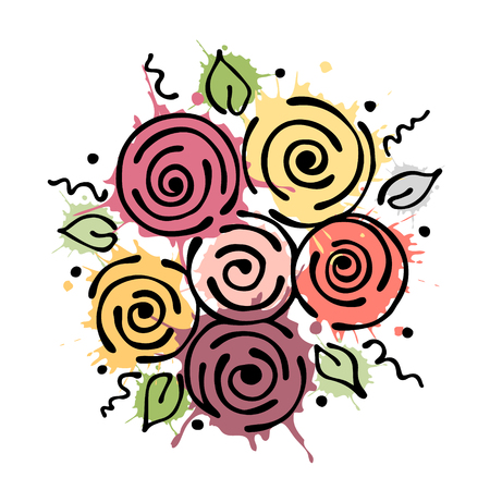peon: Vector floral illustration. bouquet with flowers, leaves, decorative elements isolated on the white background. Hand drawn contour lines and strokes. Doodle style, graphic vector illustration Illustration