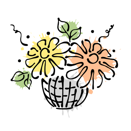Vector floral illustration. Basket with flowers, leaves, decorative elements isolated on the white background. Hand drawn contour lines and strokes. Doodle style, graphic vector illustration Illustration