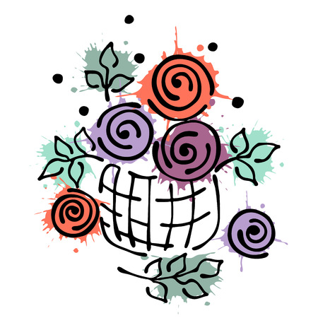peon: Vector floral illustration. Basket with flowers, leaves, decorative elements isolated on the white background. Hand drawn contour lines and strokes. Doodle style, graphic vector illustration Illustration