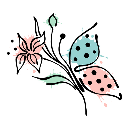 Vector floral illustration of butterfly with flowers, leaves, decorative elements isolated on the white background Hand drawn contour lines and strokes Doodle style, graphic vector illustration Illustration
