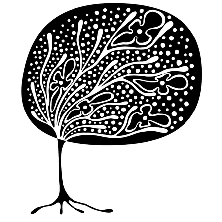 t shirt model: Vector hand drawn illustration, decorative ornamental stylized tree. Black and white graphic illustration isolated on the white background. Inc drawing silhouette. Decorative artistic ornamental wood Illustration