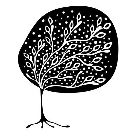 t shirt white: Vector hand drawn illustration, decorative ornamental stylized tree. Black and white graphic illustration isolated on the white background. Inc drawing silhouette. Decorative artistic ornamental wood Illustration