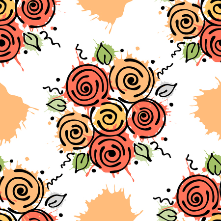 peon: Vector seamless floral pattern with flowers, leaves, decorative elements, splash, blots, drop Hand drawn contour lines and strokes Doodle sketch style, graphic vector drawing illustration