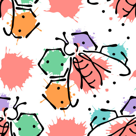 Vector seamless pattern with insect Bees with honeycomb, decorative elements, splash, blots, drop on the white background Hand drawn contour lines and strokes Doodle style, graphic vector illustration Illustration