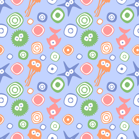 devilfish: Vector seamless decorative pattern with hand drawn fish, starfish, octopus, circle, dots Endless blue background Template for wrapping, fabric, cover. Series of hand drawn decorative seamless patterns