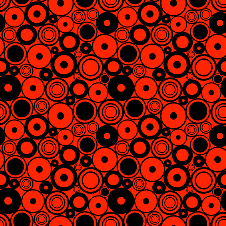 Seamless vector geometrical pattern. Endless red and black background with circles. Graphic illustration.Template for cover, fabric, wrapping.