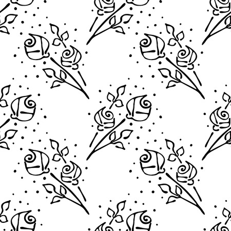 peon: Vector floral illustration. Black and white seamless pattern with bouquet with flowers, leaves, decorative elements isolated on the white background. Hand drawn contour lines and strokes. Doodle style, graphic vector illustration of rose