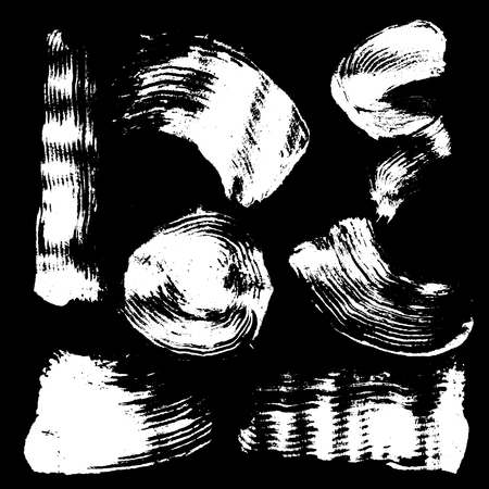 smudge: Vector set of white inc splash, blots, smudge and brush strokes, isolated on the black background. Grunge elements for design. Illustration