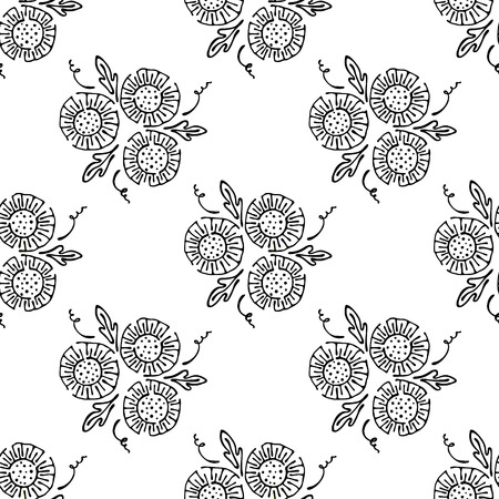stroking: Vector floral illustration. Black and white seamless pattern with bouquet with flowers, leaves, decorative elements. Hand drawn contour lines and strokes. Doodle style, graphic illustration