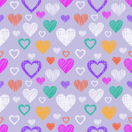 paper heart: Seamless vector love pattern with hearts. Endless background with hand drawn colorful figures. Pattern for wrapping, cover, background, surface print