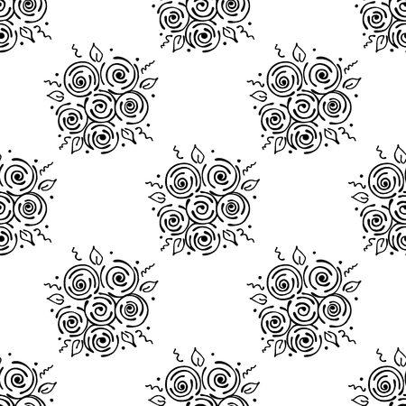 peon: Vector floral illustration. Seamless pattern bouquet with flowers, leaves, decorative elements on the white background. Hand drawn contour lines and strokes. Doodle style, graphic vector illustration